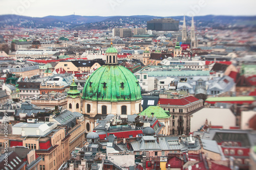 Photo Beautiful super-wide angle aerial view of Vienna, Austria, with old town Histori