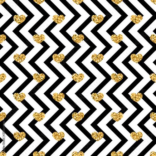 Gold Heart Seamless Pattern Black White Geometric Zig Zag Golden Confetti Hearts