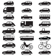 Transporting Vehicle Icon Silhouette Collection With Car, Van, Truck, Lorry, Bus, Bicycle, Motorcycle, Jeep Icon Set