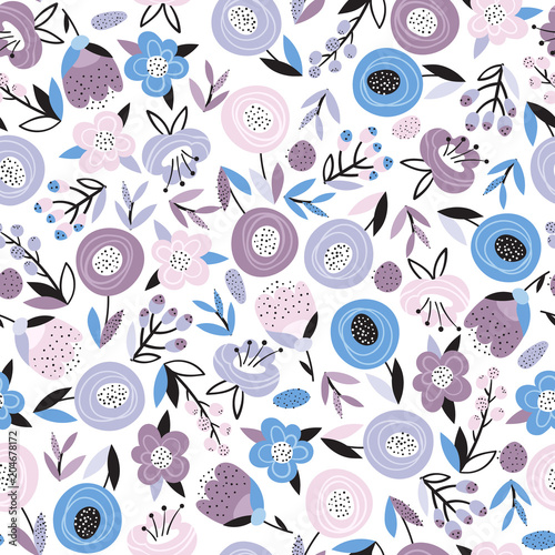 Bright floral seamless pattern Poster