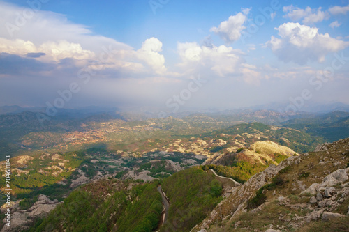 Foto op Aluminium Bleke violet Beautiful mountain landscape. Montenegro, view of Lovcen National Park from Jezerski vrh peak