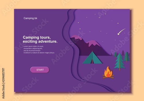 Poster Prune Evening camp whith bonfire and tent pine forest and rocky mountains in trandy paper cut style.. Camping in wild nature at night. Starry night sky and shooting star. Vector card illustration
