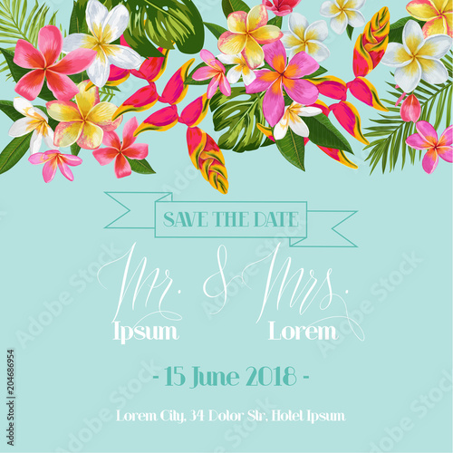 Wedding Invitation Template With Plumeria Flowers Tropical Floral