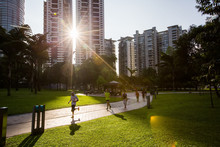 People Are Jogging In The Morning In City Park