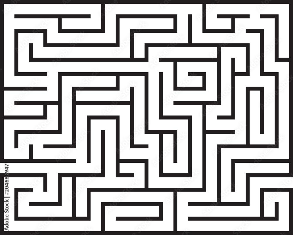 Fototapeta Black rectangle maze isolated on white background