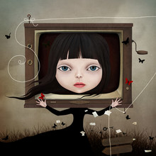 Conceptual Illustration With A Fairy Tale Character Little Girl And TV.