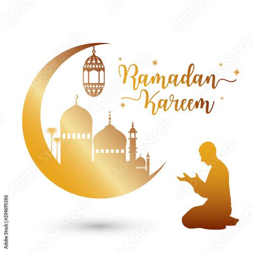 Papiers peints Restaurant Ramadan kareem greeting card with mosque and prayer, vector