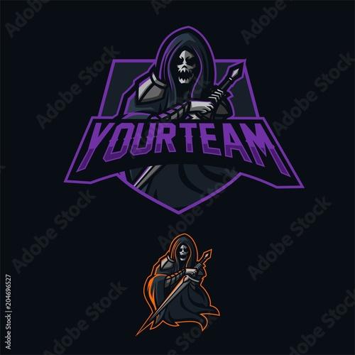 grim reaper holding sword esport gaming mascot logo template adobe