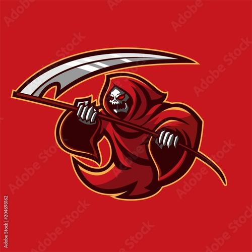 grim reaper holding scythe esport gaming mascot logo template buy