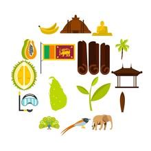 Sri Lanka Travel Set Flat Icons