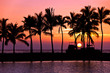 canvas print picture - Setting sun with palm tree and boat silhouettes at Anaehoomalu Bay, Big Island, Hawaii