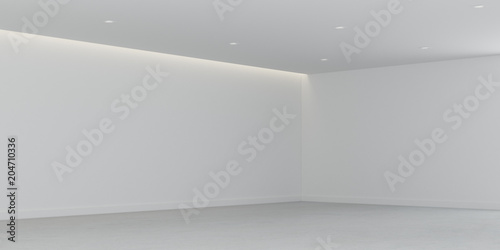 Stampa su Tela  3D rendering of the empty room space and white wall with interior lighting,Perspective of minimal design architecture