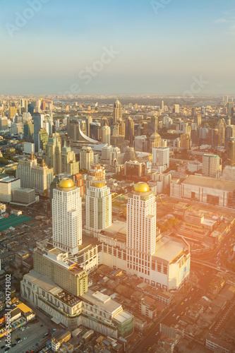 Deurstickers Stad gebouw Bangkok city central business downtown aerial view, Thailand cityscape background