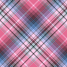 Blue Pink Abctract Check Plaid Seamless Pattern