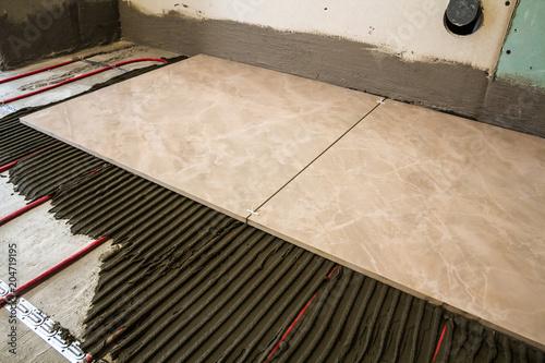 Ceramic tiles and tools for tiler  Floor tiles installation