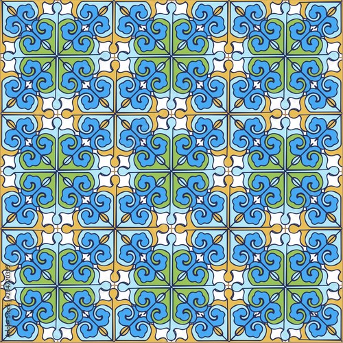 Foto op Canvas Kunstmatig Seamless patchwork pattern from Moroccan ,Portuguese tiles blue, yellow, green colors. Decorative ornament can be used for wallpaper, backdrop, fabric, textile, wrapping paper.