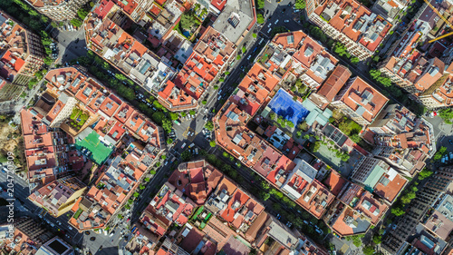 obraz dibond Barcelona aerial straight down camera , Eixample residential streets and buildings, famous urban grid, Spain.