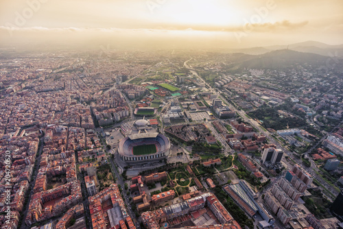 Aerial view of Barcelona city stadium at sunset, Spain