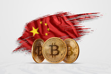 Crypto Currency, Gold Coin BITCOIN BTC. Coin Bitcoin Against The Background Of The Flag Of China. The Concept A New Currency, Blockchain Technology , A Token. Mixed Media