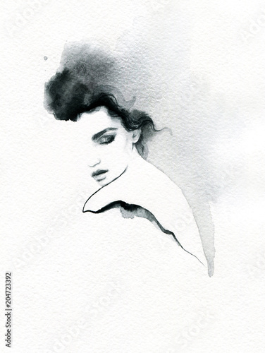 Fotobehang Aquarel Gezicht beautiful woman. fashion illustration. melancholy. watercolor illustration