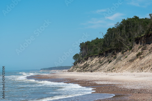 Tuinposter Kust Steep and sandy coast of Baltic sea in western Latvia.