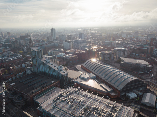 Carta da parati Manchester City Centre Drone Aerial View Above Building Work Skyline Construction Blue Sky Summer Beetham Tower Deansgate