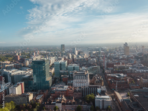 Manchester City Centre Drone Aerial View Above Building Work Skyline Construction Blue Sky Summer Beetham Tower Deansgate Fototapet