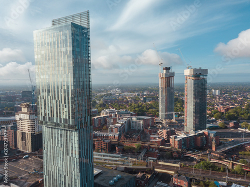 Billede på lærred Manchester City Centre Drone Aerial View Above Building Work Skyline Construction Blue Sky Summer Beetham Tower Deansgate