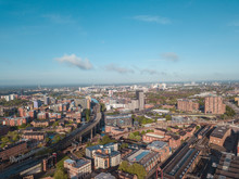 Manchester City Centre Drone Aerial View Above Building Work Skyline Construction Blue Sky Summer Beetham Tower Deansgate.