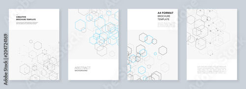 Fotografia  Minimal brochure templates with hexagons and lines on white
