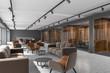 Leinwanddruck Bild - Luxury office corridor, dark wood meeting room