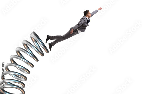 Fotografija Businessman jumping from spring in promotion concept