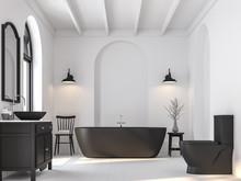 Minimal Bathroom With Black An...