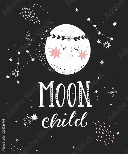 Księżyc dziecko plakat z napisem wyciągnąć rękę. Ilustracji wektorowych.