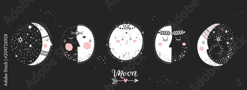 Photographie  Moon phases, characters image on black background