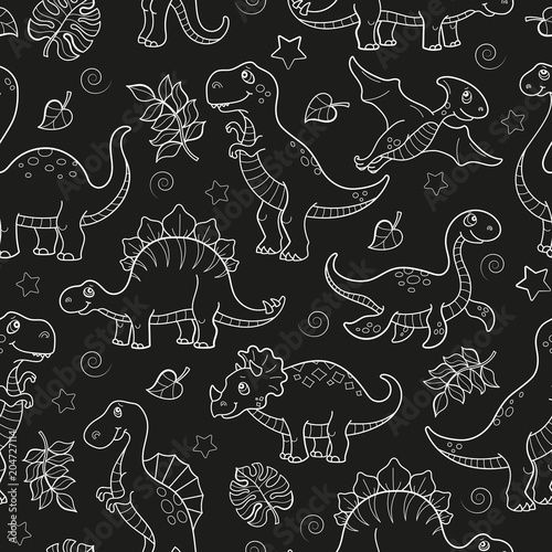 Materiał do szycia Wzór z dinozaurów i liści, wyprofilowane zwierząt na ciemnym tle