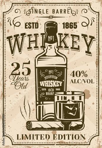 butelka-whisky-z-szklanka-i-cygaro-plakat-w-stylu-vintage