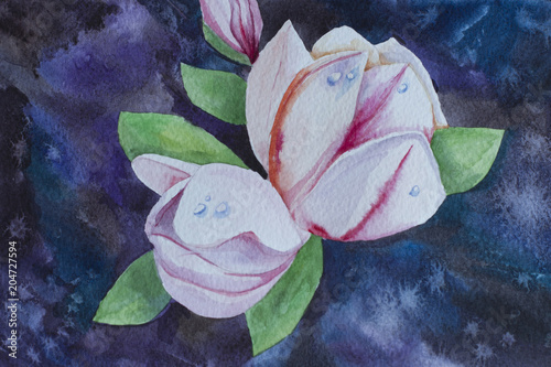 Watercolor flowers on an abstract background Poster