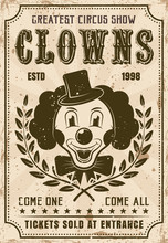 Funny Clown Vector Retro Poste...