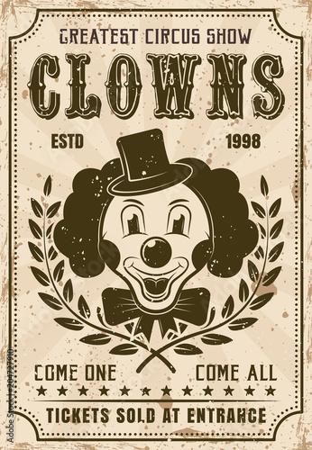 Funny clown vector retro poster for circus show