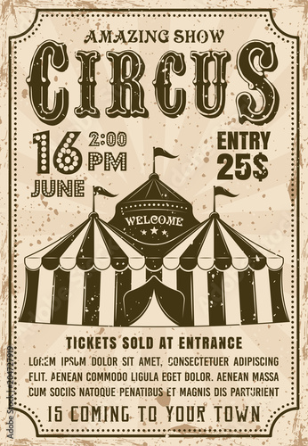 Circus tent vector invitation retro style poster