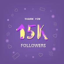15K Followers Thank You. Vector Illustration.