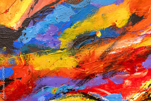 Stampa su Tela A vibrant and colourful oil and acrylic abstract painting on canvas painted with