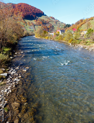 Foto op Canvas Rivier Autumn Carpathian mountain river (Ukraine).