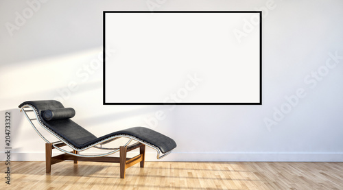 Deurstickers Water Motorsp. Modern bright interiors apartment with mockup poster frame 3D rendering