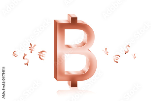 Rose Gold Metal Of Baht Currency Symbols Forex Trading Concept