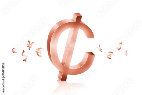Rose Gold Metal Of Cent Currency Symbols Forex Trading Concept Buy