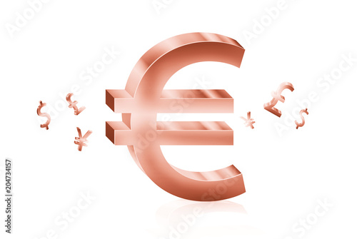Rose Gold Metal Of Euro Currency Symbols Forex Trading Concept