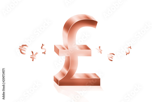 Rose Gold Metal Of Pound Currency Symbols Forex Trading Concept