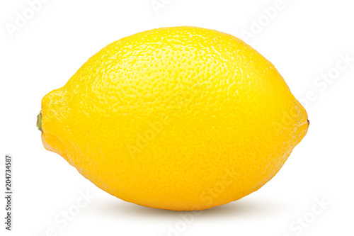 Whole lemon on white background, clipping path, isolated on white background - 204734587